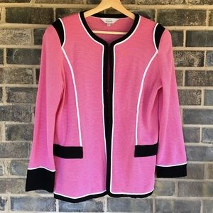 Exclusively Misook Pink & White Striped blazer L
